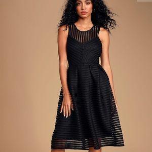 Aira Black Striped Mesh Midi Skater Dress